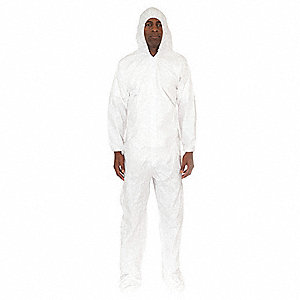 Hooded Coverall w/Boots,White,M,PK25