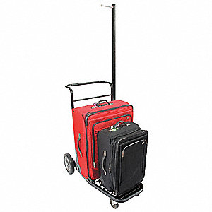 "73"" Metal Bellman Cart Carpet and Black Powder Finish"