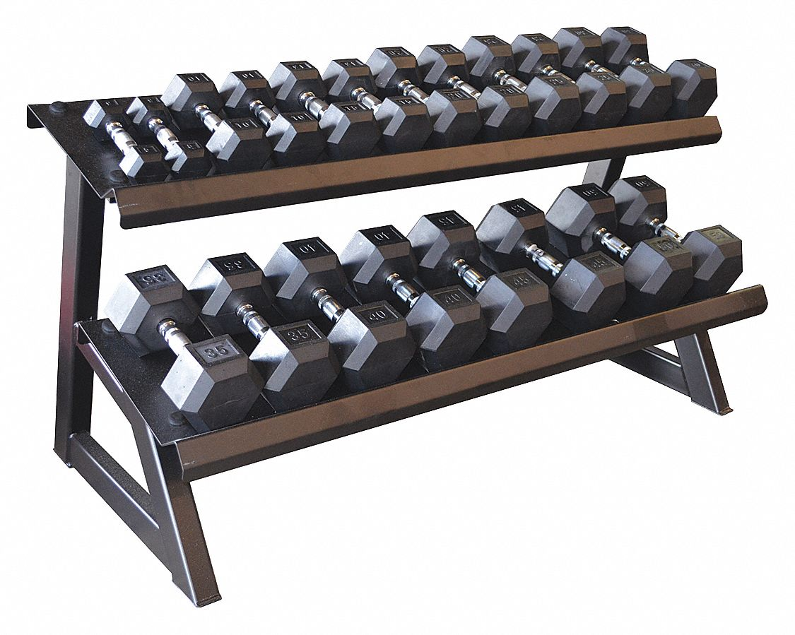 Tier Hex Dumbbell Rack,  59 in Length,  30 in Height
