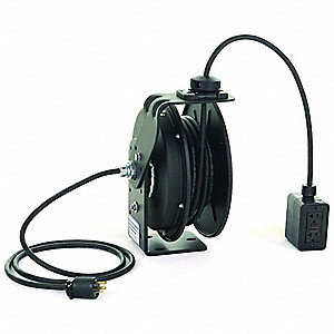Retractable Cord Reel,50 ft.,Bk,120VAC