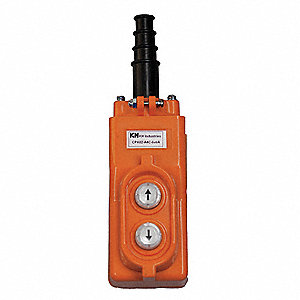 2-Button Up/Down Pendant Push Button Station, 1NO, NEMA Rating 4X, Orange