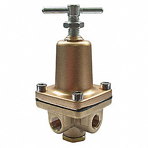 "3-Way Brass Series 2-1/8""L Brass Pressure Regulator, 3 to 50 psi"