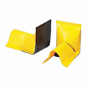 "10"" x 7-1/2"" x 4"" 18 oz. PVC, Polyethylene Spill Containment Berm Wall End, Yellow"