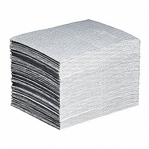 "20"" x 15"" Heavy Absorbent Mat Pad for Oil Only/Petroleum, White, 100PK"