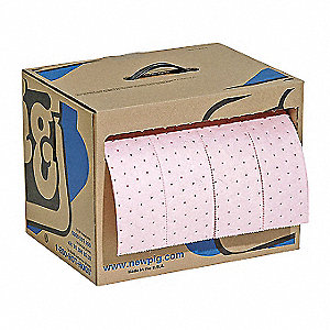 60 ft. Absorbent Roll, Fluids Absorbed: Chemical, Hazmat, Heavy, 7.9 gal., 1 EA