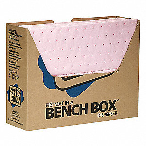 "13"" x 10"" Heavy Absorbent Mat Pad for Chemical, Hazmat, Pink, 100PK"