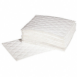 "14"" Absorbent Pad, Fluids Absorbed: Oil-Based Liquids, Light, 1.25 gal., 20 PK"