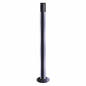 "Single Belt Receiver Post, Mild Steel Post Material, Removable Base Type, 36-1/2"" Height"