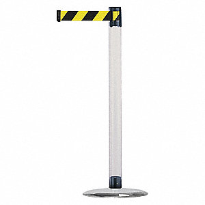 Barrier Post with Belt,Metal,7-1/2 ft. L