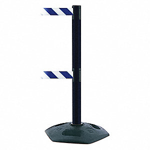 Barrier Post w/ Belt,Blue/White Striped