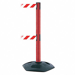 Barrier Post with Belt,Red/White Striped