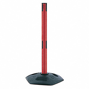 "Dual Belt Receiver Post, Plastic Post Material, Flat Base Type, 38"" Height"