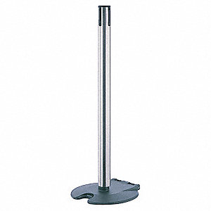 "Single Belt Receiver Post, Polycarbonate Post Material, Wheeled Base Type, 38"" Height"
