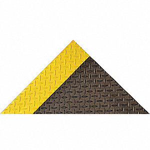 "Traction Runner, 75 ft. L, 4 ft. W, 1/8"" Thick, Black with Yellow Border"