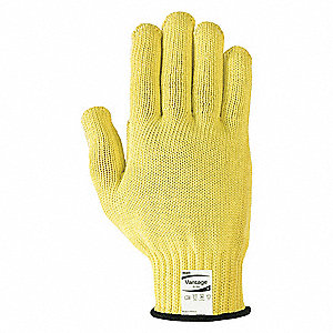 Uncoated Cut Resistant Gloves, ANSI/ISEA Cut Level 4, Kevlar® Lining, Yellow, 7, PR 1