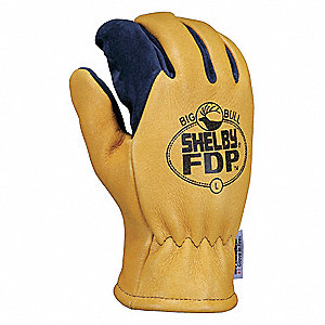 Structural Firefighters Gloves, Gauntlet Cuff, Brushed Pigskin Leather