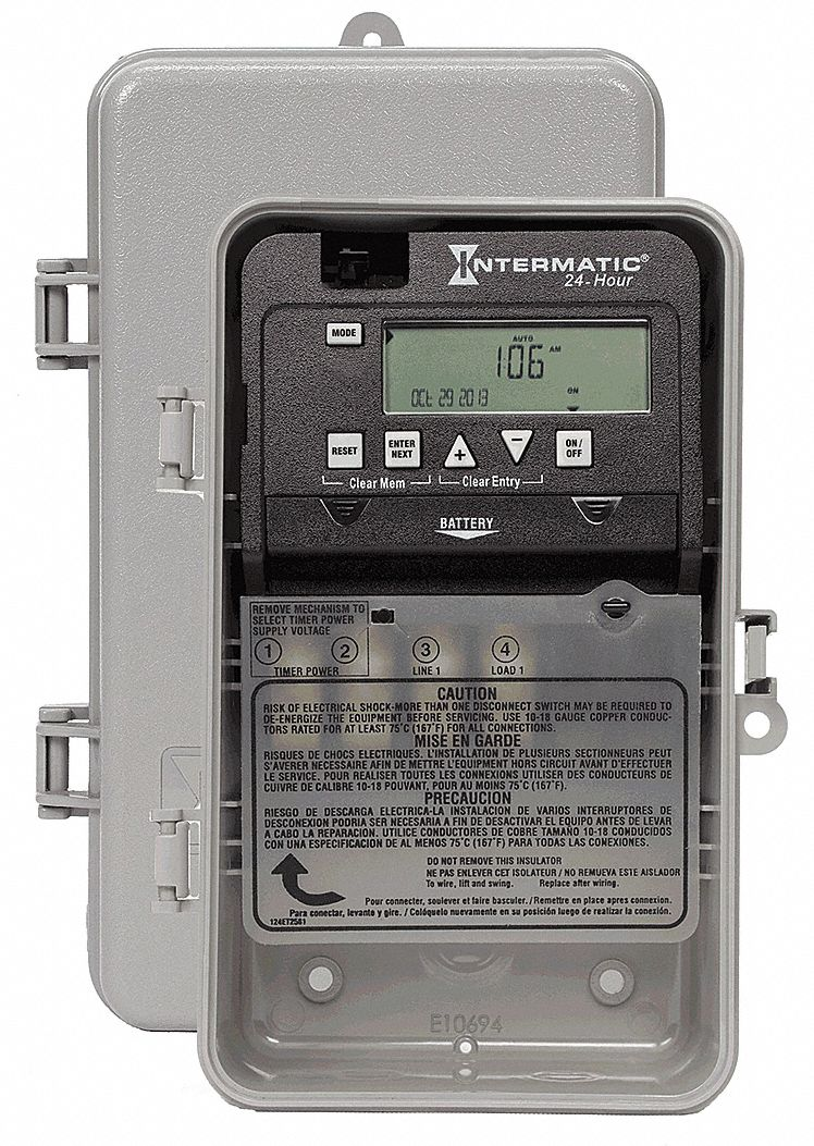 Electronic Timer, 30 Amps, 120 to 277VAC Voltage, Operation Mode: 24 hr., Number of Channels: 1