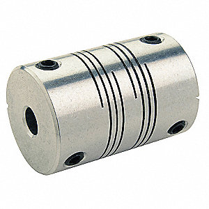 "Motion Control Coupling, 1 Piece Set Screw, 3/8"" x 5/16"" Bore Dia., 50 in.-lb. Rated Torque"