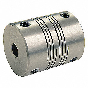 Motion Control Coupling, 1 Piece Set Screw, 12mm x 12mm Bore Dia., 58 in.-lb. Rated Torque