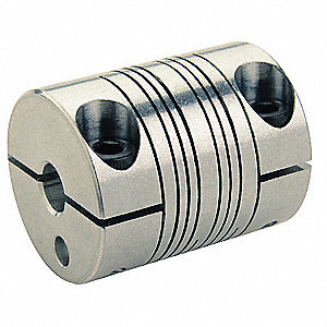 "Motion Control Coupling, 1 Piece Clamp, 1/4"" x 3/16"" Bore Dia., 19 in.-lb. Rated Torque"