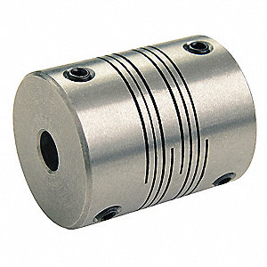 "Motion Control Coupling, 1 Piece Set Screw, 1/4"" x 3/16"" Bore Dia., 24 in.-lb. Rated Torque"
