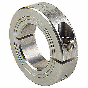 316 Stainless Steel Shaft Collar, Clamp Collar Style, Metric Dimension Type, 20mm Bore Dia.