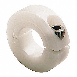 "Acetal Plastic Shaft Collar, Clamp Collar Style, Standard Dimension Type, 9/16"" Bore Dia."
