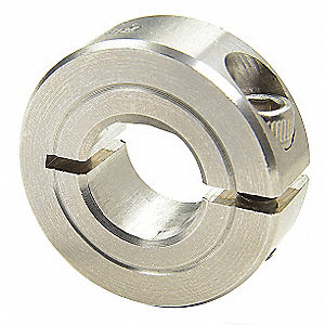"303 Stainless Steel Shaft Collar, Clamp, D-Bore Collar Style, Standard Dimension Type, 1/4"" Bore Dia"