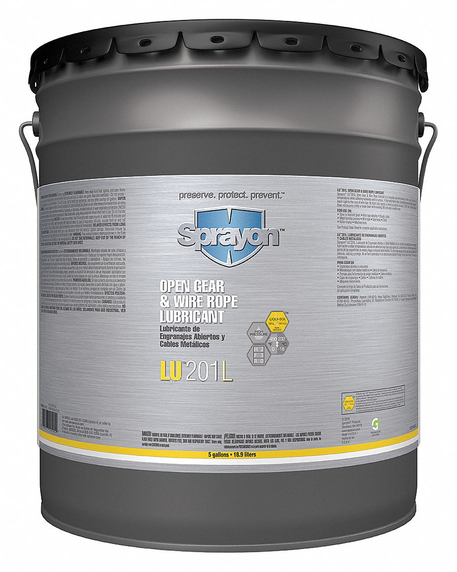 SPRAYON Open Gear and Wire Rope Lubricant, 5 gal. Can, Petroleum ...