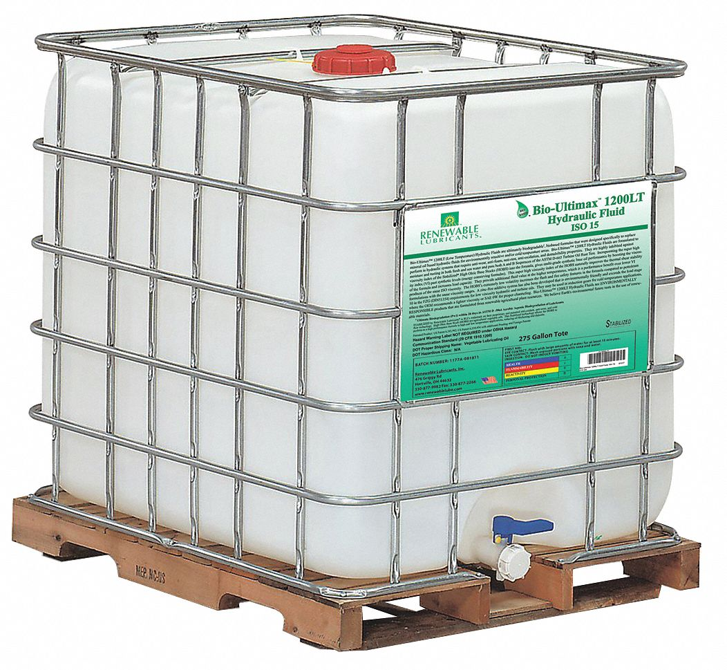 Vegetable Oil Hydraulic Oil, 275 gal  IBC Tote, ISO Viscosity Grade : 15