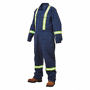 FR Coverall w/Reflective Tape,Blue,34 R