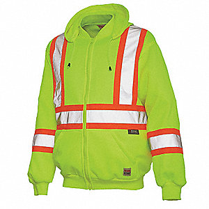 Yellow/Green 100% Polyester High Visibility Hooded Sweatshirt, Size: 5XL, ANSI Class 2