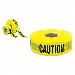 "Barricade Tape, Yellow, 3"" x 3000 ft., Caution"