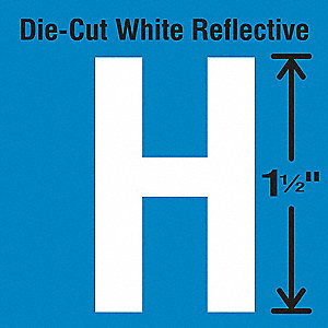 Reflective Letter Label, H, Reflective White, 5 PK