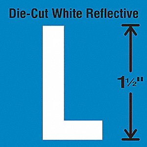 Die-Cut Reflective Letter Label, L,PK5