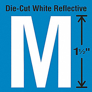 Reflective Letter Label, M, Reflective White, 5 PK