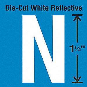Reflective Letter Label, N, Reflective White, 5 PK