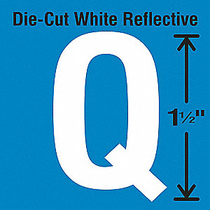 Reflective Letter Label, Q, Reflective White, 5 PK