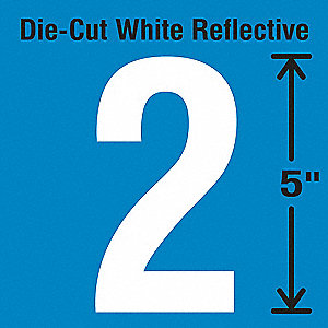 Reflective Number Label, 2, Reflective White, 5 PK