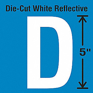 Die-Cut Reflective Letter Label, D,PK5
