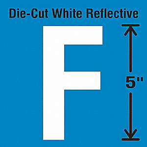 Reflective Letter Label, F, Reflective White, 5 PK