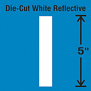 Die-Cut Reflective Letter Label, I,PK5