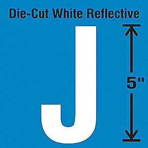 Die-Cut Reflective Letter Label, J,PK5