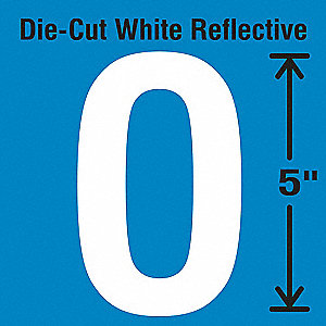 Die-Cut Reflective Letter Label, O,PK5