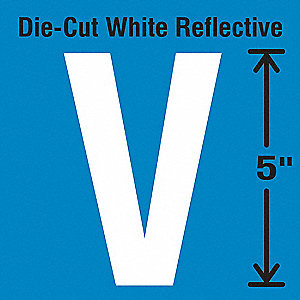 Reflective Letter Label, V, Reflective White, 5 PK