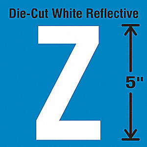 Reflective Letter Label, Z, Reflective White, 5 PK