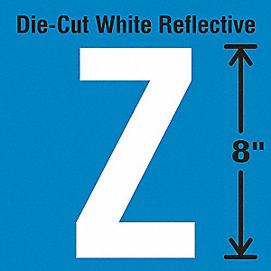 Reflective Letter Label, Z, Reflective White, 1 EA