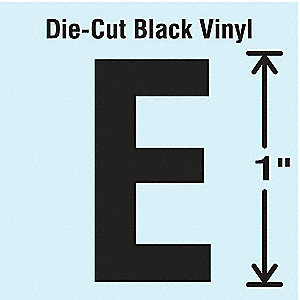 Letter Label, E, Black, 10 PK