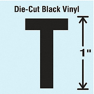Letter Label, T, Black, 10 PK