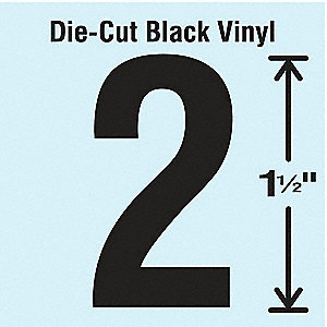 Die Cut Number Label, 2, 10 Cards,PK10